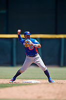 Tennessee Smokies second baseman Vimael Machin (1) throws to first base during a Southern League game against the Jacksonville Jumbo Shrimp on April 29, 2019 at Baseball Grounds of Jacksonville in Jacksonville, Florida.  Tennessee defeated Jacksonville 4-1.  (Mike Janes/Four Seam Images)