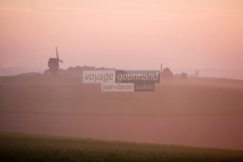 Europe/France/Champagne-Ardenne/Marne/Valmy: le Moulin de Valmy à l'aube et brumes sur les champs