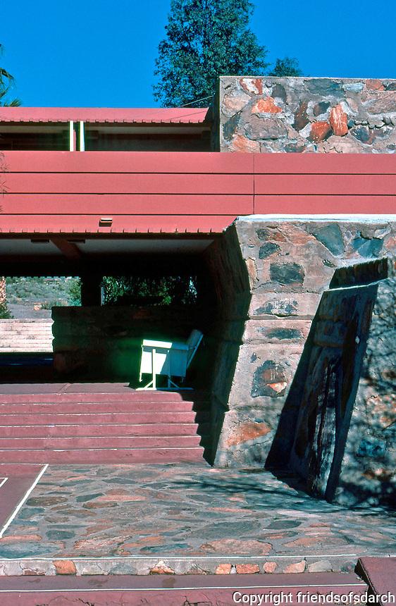 F.L. Wright: Taliesin West. Terrace, Entrance.  Photo '77.