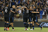 STANFORD, CA - JUNE 29: Shea Salinas #6, Magnus Eriksson #7, Vako #11, Tommy Thompson #22, Marcos Lopez #27 during a Major League Soccer (MLS) match between the San Jose Earthquakes and the LA Galaxy on June 29, 2019 at Stanford Stadium in Stanford, California.