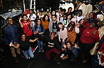 "Host Bryan Terrell Clark with High School student performers during The Rockefeller Foundation and The Gilder Lehrman Institute of American History sponsored High School student #EduHam matinee performance of ""Hamilton"" at the Richard Rodgers Theatre on October 24, 2018 in New York City."