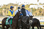 DEL MAR, CA  DECEMBER 3: #5 Vale Dori with Mike Smith in the post parade before the Bayakoa Handicap (Grade ll) at Del Mar Thoroughbred Club in Del Mar, Ca on December 3, 2016. (Photo by Casey Phillips/Eclipse Sportswire/Getty Images)