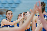 Sonja Vasic (5) of Serbia pictured before a basketball game between the national teams of Puerto Rico and Serbia on Sunday 30 th of May 2021 in Kortrijk , Belgium . PHOTO SPORTPIX.BE | SPP | STIJN AUDOOREN