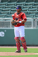 GCL Red Sox catcher Alixon Suarez (37) during a game against the GCL Twins on July 19, 2013 at JetBlue Park at Fenway South in Fort Myers, Florida.  GCL Red Sox defeated the GCL Twins 4-2.  (Mike Janes/Four Seam Images)