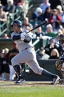 Scranton Wilkes-Barre Yankees first baseman Jorge Vazquez #38 at bat during a game against the Rochester Red Wings at Frontier Field on April 9, 2011 in Rochester, New York.  Rochester defeated Scranton 7-6 in twelve innings.  Photo By Mike Janes/Four Seam Images