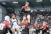 20130324 Copyright onEdition 2013©.Free for editorial use image, please credit: onEdition..George Kruis of Saracens wins the lineout during the Premiership Rugby match between Saracens and Harlequins at Allianz Park on Sunday 24th March 2013 (Photo by Rob Munro)..For press contacts contact: Sam Feasey at brandRapport on M: +44 (0)7717 757114 E: SFeasey@brand-rapport.com..If you require a higher resolution image or you have any other onEdition photographic enquiries, please contact onEdition on 0845 900 2 900 or email info@onEdition.com.This image is copyright onEdition 2013©..This image has been supplied by onEdition and must be credited onEdition. The author is asserting his full Moral rights in relation to the publication of this image. Rights for onward transmission of any image or file is not granted or implied. Changing or deleting Copyright information is illegal as specified in the Copyright, Design and Patents Act 1988. If you are in any way unsure of your right to publish this image please contact onEdition on 0845 900 2 900 or email info@onEdition.com