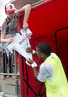 29 June 2013: Real Salt Lake forward Joao Plata #8 signs an autograph after warm-ups during an MLS game between Real Salt Lake and Toronto FC at BMO Field in Toronto, Ontario Canada.<br /> Real Salt Lake won 1-0.