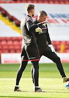4th May 2021; The Valley, London, England; English Football League One Football, Charlton Athletic versus Lincoln City; Goalkeeper Alex Palmer of Lincoln City warms up with the coach