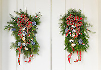 Christmas decorations on a door.