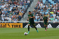 ST PAUL, MN - JULY 24: Marvin Loría #44 of the Portland Timbers with the ball during a game between Portland Timbers and Minnesota United FC at Allianz Field on July 24, 2021 in St Paul, Minnesota.