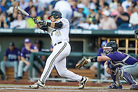 Vanderbilt Commodores first baseman Zander Wiel (43) swings the bat against the TCU Horned Frogs in Game 12 of the NCAA College World Series on June 19, 2015 at TD Ameritrade Park in Omaha, Nebraska. The Commodores defeated TCU 7-1. (Andrew Woolley/Four Seam Images)