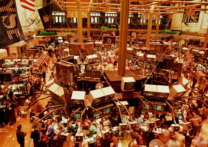 Overview of the trade floor of the New York Stock Exchange. New York.