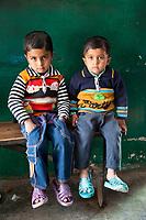 India, Dehradun.  Two Young Boys in Moronwala Village, a Suburb of Dehradun.