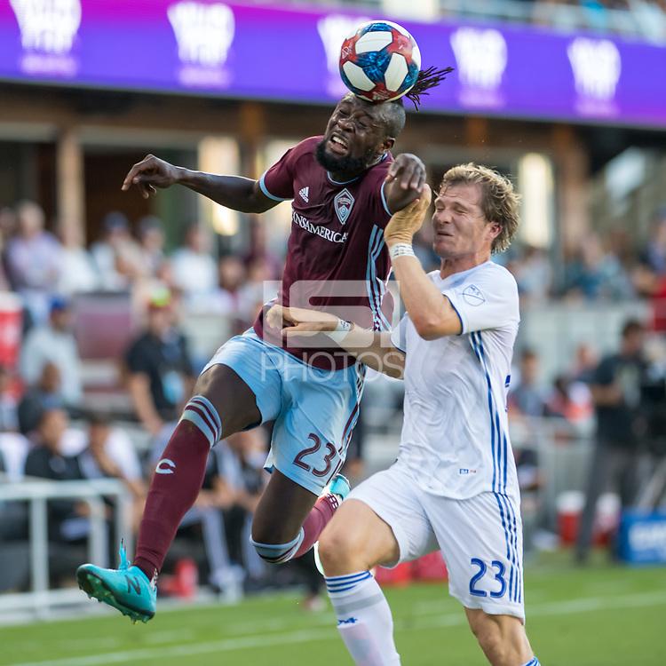 SAN JOSÉ CA - JULY 27: Kei Kamara #23, Florian Jungwirth #23 during a Major League Soccer (MLS) match between the San Jose Earthquakes and the Colorado Rapids on July 27, 2019 at Avaya Stadium in San José, California.