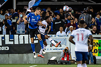 SAN JOSE, CA - AUGUST 13: Nathan Cardoso #13 of the San Jose Earthquakes heads the ball during a game between San Jose Earthquakes and Vancouver Whitecaps at PayPal Park on August 13, 2021 in San Jose, California.