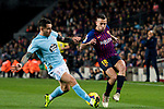 Jordi Alba Ramos of FC Barcelona (R) is tackled by Hugo Mallo Novegil of RC Celta de Vigo during the La Liga 2018-19 match between FC Barcelona and RC Celta de Vigo at Camp Nou on 22 December 2018 in Barcelona, Spain. Photo by Vicens Gimenez / Power Sport Images