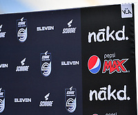 illustration picture showing the logos of Eleven Sports ,Scooore Super League and sponsors Nakd and Pepsi Max during a female soccer game between Club Brugge Dames YLA and Standard Femina de Liege on the first matchday of the 2021 - 2022 season of Belgian Scooore Womens Super League , saturday 21 August 2021 in Brugge , Belgium . PHOTO SPORTPIX   DAVID CATRY