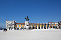 LISBON, PORTUGAL - MAY 18 :  A general view of Commerce square  in Lisbon, on May 18, 2020. <br /> Restaurants, museums and coffee shops reopen at reduced capacity, while Lisbon eases lockdown coronavirus disease (COVID-19) outbreak.<br /> (Photo by Luis Boza/VIEWpress via Getty Images)