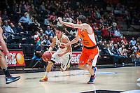 VALENCIA, SPAIN - NOVEMBER 3: Michele Ruzzier, Guillem Vives during EUROCUP match between Valencia Basket Club and CAI Zaragozaat Fonteta Stadium on November 3, 2015 in Valencia, Spain