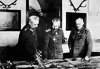 German General Headquarters, General von Hindenburg, Kaiser Wilhelm, General Ludendorff, January 1917.  German Official.  (War Dept.)<br /> Exact Date Shot Unknown<br /> NARA FILE #:  165-GB-1000<br /> WAR & CONFLICT BOOK #:  491