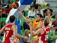 "Rudy Fernandez of Spain (C) in action during European basketball championship ""Eurobasket 2013""  basketball game for 3rd place between Spain and Croatia in Stozice Arena in Ljubljana, Slovenia, on September 22. 2013. (credit: Pedja Milosavljevic  / thepedja@gmail.com / +381641260959)"