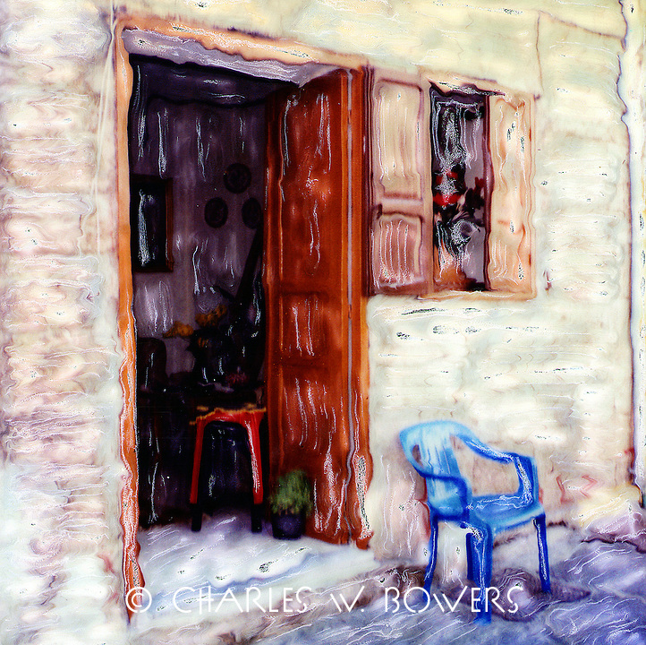 Everyone in Greece seems to own one or more plastic chairs. Most sit at the front door poised for talking to passerbys and neighbors.