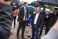 """AfD-Kundgebung in Potsdam.<br /> Ca. 70 AfD-Anhaenger kamen am Samstag den 9. September 2017 zu einer Wahlveranstaltung der rechtsnationalistischen """"Alternative fuer Deutschland"""", AfD. Unter den Teilnehmern waren u.a. Neonazis die """"Patrioten Cottbus"""" oder die sog. """"Schwarze Sonne"""", ein Zeichen der SS auf ihren Jacken trugen. Offiziell hatte die AfD die Kundgebung als Gruendung einer rechten Gewerkschaft namens """"Alternativer Arbeitnehmerverband Mitteldeutschland"""" (Alarm) in Brandenburg deklariert.<br /> 500 Menschen protestierten friedlich gegen die Veranstaltung.<br /> Im Bild vlnr.: Birgit Bessin aus Worms, stellvertretende Landesvorsitzende der AfD-Brandenburg; Bjoern Hoecke, AfD-Fraktionsvorsitzender im Thueringer Landtag und Andreas Kalbitz, Landesvorsitzender der AfD-Brandenburg.<br /> 9.9.2017, Potsdam<br /> Copyright: Christian-Ditsch.de<br /> [Inhaltsveraendernde Manipulation des Fotos nur nach ausdruecklicher Genehmigung des Fotografen. Vereinbarungen ueber Abtretung von Persoenlichkeitsrechten/Model Release der abgebildeten Person/Personen liegen nicht vor. NO MODEL RELEASE! Nur fuer Redaktionelle Zwecke. Don't publish without copyright Christian-Ditsch.de, Veroeffentlichung nur mit Fotografennennung, sowie gegen Honorar, MwSt. und Beleg. Konto: I N G - D i B a, IBAN DE58500105175400192269, BIC INGDDEFFXXX, Kontakt: post@christian-ditsch.de<br /> Bei der Bearbeitung der Dateiinformationen darf die Urheberkennzeichnung in den EXIF- und  IPTC-Daten nicht entfernt werden, diese sind in digitalen Medien nach §95c UrhG rechtlich geschuetzt. Der Urhebervermerk wird gemaess §13 UrhG verlangt.]"""