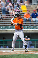 Trey Mancini (27) of the Frederick Keys at bat against the Lynchburg Hillcats at Calvin Falwell Field at Lynchburg City Stadium on May 14, 2015 in Lynchburg, Virginia.  The Hillcats defeated the Keys 6-3.  (Brian Westerholt/Four Seam Images)