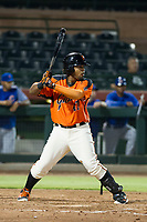 AZL Giants first baseman Nathanael Javier (47) at bat against the AZL Cubs on September 5, 2017 at Scottsdale Stadium in Scottsdale, Arizona. AZL Cubs defeated the AZL Giants 10-4 to take a 1-0 lead in the Arizona League Championship Series. (Zachary Lucy/Four Seam Images)