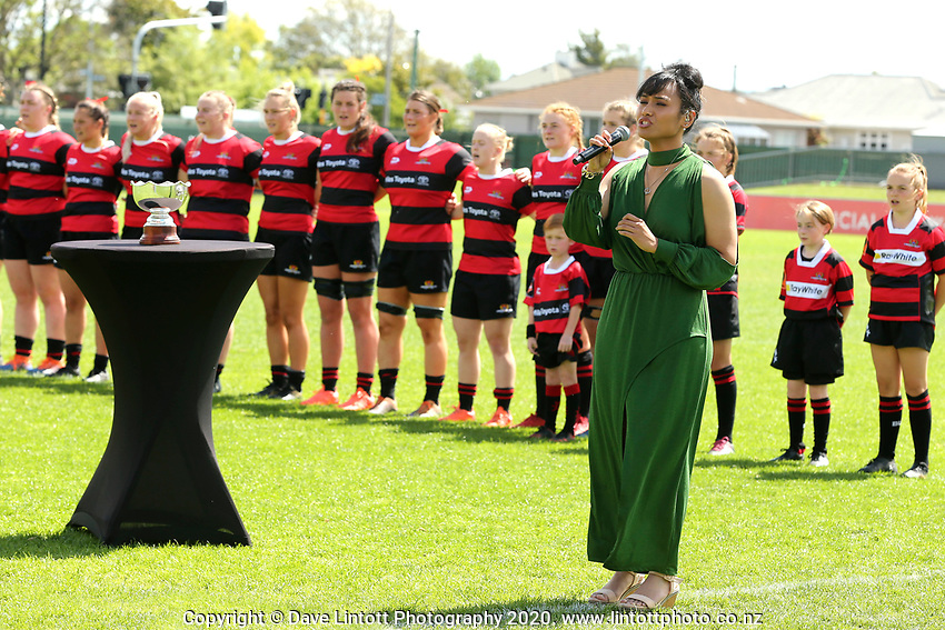 Paris Lolohea sings the national anthem before the 2020 Farah Palmer Cup women's rugby final between Canterbury and Waikato at Rugby Park in Christchurch, New Zealand on Saturday, 31 October 2020. Photo: Martin Hunter / lintottphoto.co.nz
