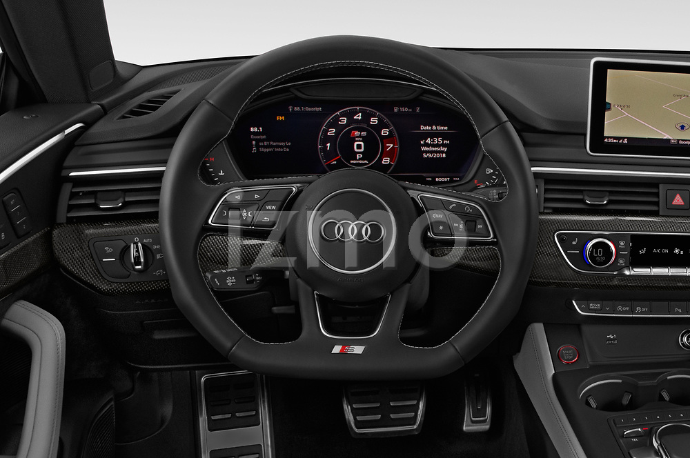 Car pictures of steering wheel view of a 2018 Audi S5 Sportback 3.0T Premium Plus quattro Tiptronic 5 Door Hatchback