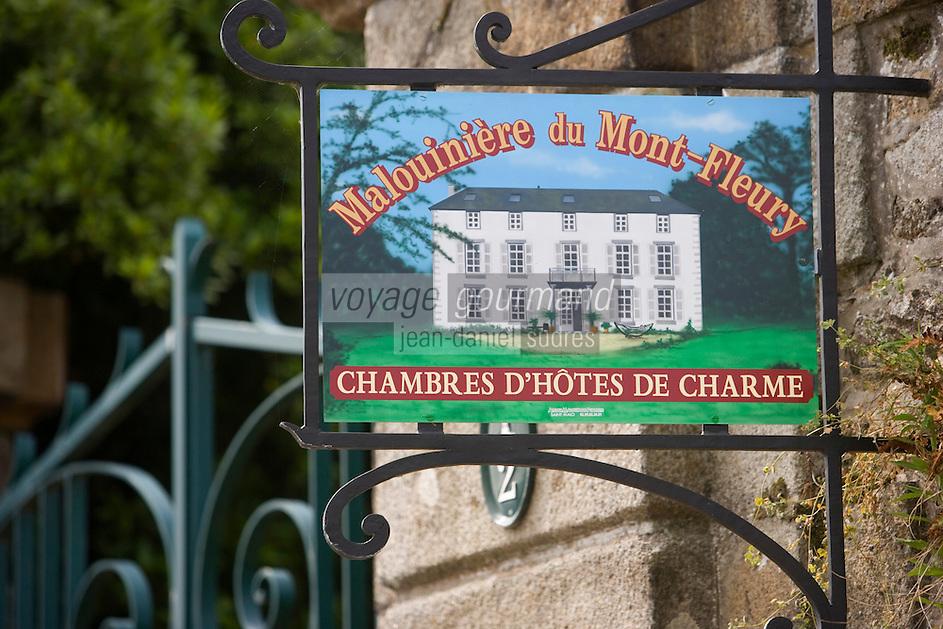 Europe/France/Bretagne/35/Ille et Vilaine/Saint-Malo:Enseigne  des Chambres d'Hôtes à la Malouinière du Mont-Fleury