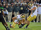 Sept. 14, 2013; Kicker Kyle Brindza (27) puts Notre Dame on the board with a field goal in the second quarter.<br /> <br /> Photo by Matt Cashore