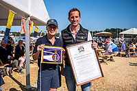 BNPS.co.uk (01202 558833)<br /> Pic: MaxWillcock/BNPS<br /> <br /> Pictured: The Honourable Mary Montagu-Scott and Sir Ben Ainslie after being granted Honorary Freedom of the Beaulieu River.<br /> <br /> Britain's most decorated Olympic sailor Sir Ben Ainslie is the guest of honour at a celebration for the 50th anniversary and completion of the £2m redevelopment of Buckler's Hard Yacht Harbour in Beaulieu, Hampshire.