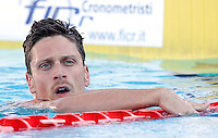 Trofeo Settecolli di nuoto al Foro Italico, Roma, 13 giugno 2013.<br /> Florent Manaudou, of France, reacts after winning in the men's 50 meters freestyle at the Sevenhills swimming trophy in Rome, 13 June 2013.<br /> UPDATE IMAGES PRESS/Isabella Bonotto