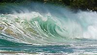 Big waves pound the shoreline on the North Shore of Kaua'i.