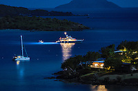 Caneel Bay Resort<br /> with a yacht at anchor during the holidays<br /> Virgin Islands National Park<br /> St. John<br /> U.S. Virgin Islands