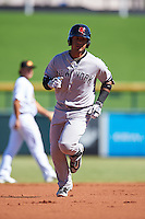 Scottsdale Scorpions Gleyber Torres (17), of the New York Yankees organization, runs the bases after hitting a home run during a game against the Mesa Solar Sox on October 18, 2016 at Sloan Park in Mesa, Arizona.  Mesa defeated Scottsdale 6-3.  (Mike Janes/Four Seam Images)