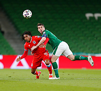 27th March 2021; Aviva Stadium, Dublin, Leinster, Ireland; 2022 World Cup Qualifier, Ireland versus Luxembourg; Gerson Rodrigues  (Luxembourg) and Seamus Coleman (Republic of Ireland) challenge for the ball