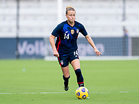 ORLANDO, FL - FEBRUARY 21: Emily Sonnett #14 of the USWNT dribbles during a game between Brazil and USWNT at Exploria Stadium on February 21, 2021 in Orlando, Florida.