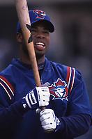 Shannon Stewart of the Toronto Blue Jays during a 2001 season MLB game at Angel Stadium in Anaheim, California. (Larry Goren/Four Seam Images)