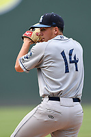 Pitcher Nate Harris (14) of the Asheville Tourists delivers a pitch in a game against the Greenville Drive on Sunday, June 3, 2018, at Fluor Field at the West End in Greenville, South Carolina. Greenville won, 7-6. (Tom Priddy/Four Seam Images)