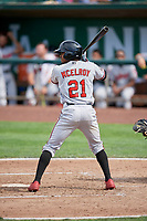 Satchel McElroy (21) of the Billings Mustangs bats against the Ogden Raptors at Lindquist Field on August 13, 2017 in Ogden, Utah. The Raptors defeated the Mustangs 6-5.  (Stephen Smith/Four Seam Images)