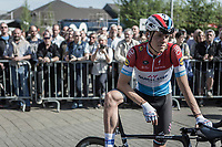 Luxembourg National Champion Bob Jungels (LUX/Quick Step Floors) waiting the pre race team presentation. <br /> <br /> 82nd La Flèche Wallonne 2018<br /> 1 Day Race: Seraing - Huy (198,5km)