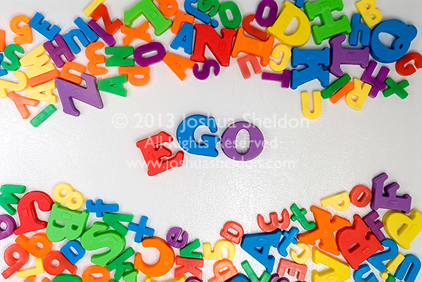 Word Ego in magnets on refrigerator