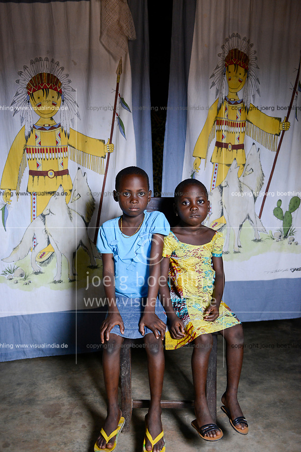 TOGO, Tohoun, village ADJIKAME, portraiture of daughters of  Komi DOSSA<br /> and Afi DOSSA né HOUNDJO