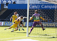 17th April 2021; Liberty Stadium, Swansea, Glamorgan, Wales; English Football League Championship Football, Swansea City versus Wycombe Wanderers; Liam Cullen of Swansea City scores with his head to make it 2-2 in the 82nd minute