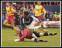 26/04/2003                   Copyright Pic : James Stewart.File Name : stewart-falkirk v ayr 06.COLLIN SAMUEL AND CRAIG NELSON WATCH AS SAMUEL'S CHIP GOES PAST THE POST.....James Stewart Photo Agency, 19 Carronlea Drive, Falkirk. FK2 8DN      Vat Reg No. 607 6932 25.Office     : +44 (0)1324 570906     .Mobile  : +44 (0)7721 416997.Fax         :  +44 (0)1324 570906.E-mail  :  jim@jspa.co.uk.If you require further information then contact Jim Stewart on any of the numbers above.........