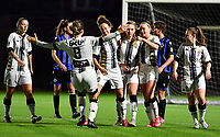 midfielder Ludmila Matavkova of Sporting Charleroi pictured celebrating after scoring a goal during a female soccer game between Sporting Charleroi and Club Brugge YLA on the fourth matchday of the 2020 - 2021 season of Belgian Scooore Womens Super League , friday 9 nd of October 2020  in Marcinelle , Belgium . PHOTO SPORTPIX.BE | SPP | DAVID CATRY