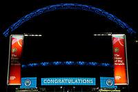 1st November 2020; Wembley Stadium, London, England; Womens FA Cup Final Football, Everton Womens versus Manchester City Womens; Wembley Stadium arch lit up in sky blue to celebrate Manchester City Women winning the 2020/21 Womens FA Cup Final